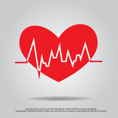 heart with pulse vector