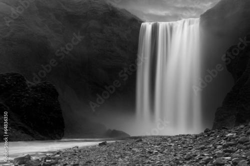 Skogafoss waterfall at night - 64836350