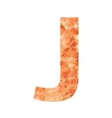 j letter with texura shaped brown earth or stone