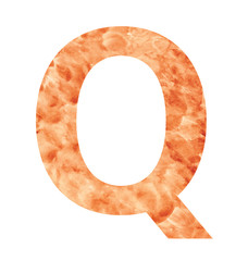 q letter with texura shaped brown earth or stone