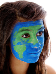 world map painted on girl's face