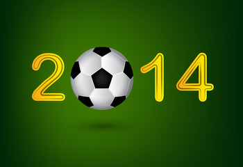 Soccer ball in 2014 digit on green background