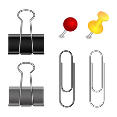 Pushpin, binder and paper clip set
