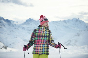 Female skier at the Alpine tops