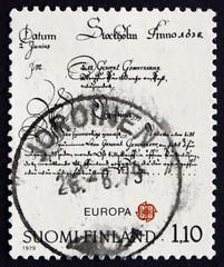 Postage stamp Finland 1979 Letter of Queen Christina to Per Brah