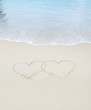hearts drawn in the sand