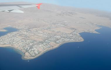 Город Шарм Ель Шейх. Египет. Красное море. Вид из самолета.