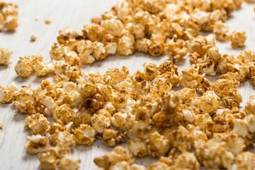 Popcorn on wooden table