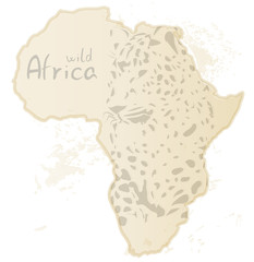 Africa map with silhouette of leopard, vector illustration