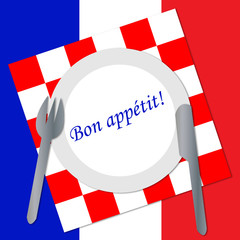 Icon for French cuisine with French text for Enjoy your meal!