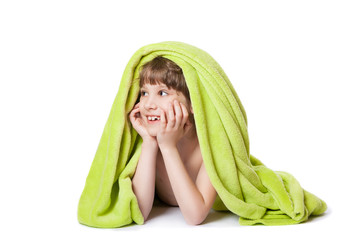 girl in a green towel