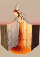 Vulcano eruzione fumo ceneri, spaccato