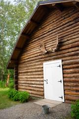 Rustic Log Out Building Moose Antler Rack Alaska Outback