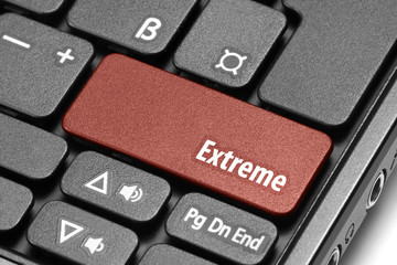 Extreme. Red hot key on computer keyboard