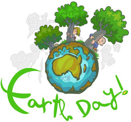 Earth day Cartoon.