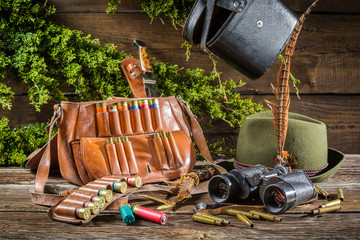 Hunting equipment in a house forester