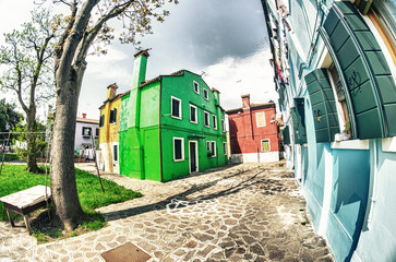 Colourful houses in Burano island, Venice