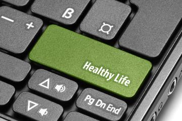 Healthy Life. Green hot key on computer keyboard