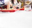 Woman having dinner in a restaurant