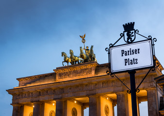 Brandenburg Gate in a cloudy sunset