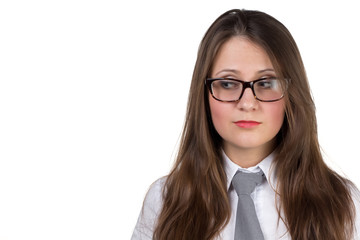 Profile of surprised woman in eyeglasses