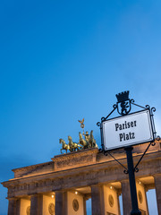Brandenburg Gate; left perspective in a cloudy sunset