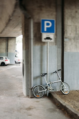 Modern bike in urban parking