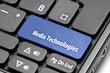 Media Technologies. Blue hot key on computer keyboard
