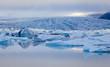 Beatiful vibrant picture of icelandic glacier and glacier lagoon