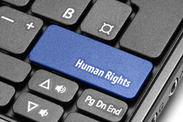 Human Rights. Blue hot key on computer keyboard
