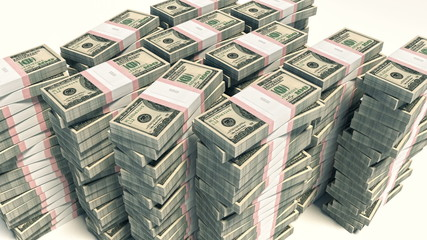 HD Packet of 100 dollar bills falling down