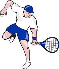 Tennis Player Racquet Cartoon