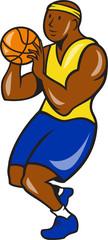 African-American Basketball Player Shoot Ball Cartoon