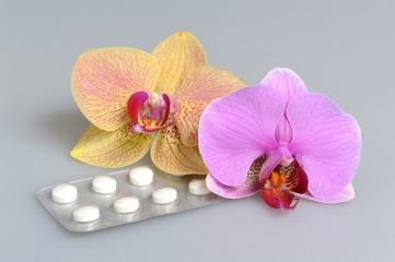 Two orchid flowers with film-coated tablets on gray