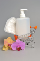 Intimate gel dispenser pump plastic bottle, sanitary towel in pu