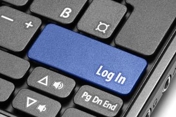 Log In. Blue hot key on computer keyboard