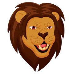 Angry Lion Head Cartoon