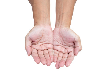 Empty open hands isolated on white background with clipping path