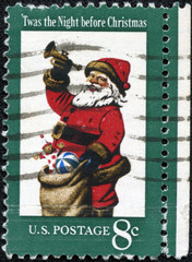 Christmas postage stamp to show Santa Claus