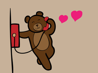 Bear calling love telephone