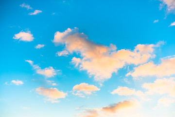 blue sky with yellow clouds in the sunrise