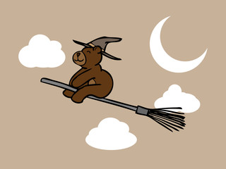 Brown bear wizard in night sky