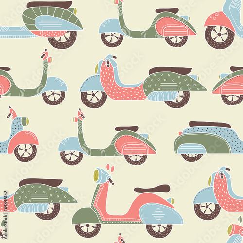 Cotton fabric Bikes seamless pattern