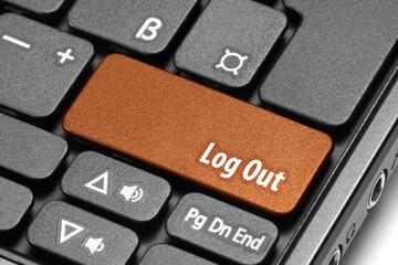 Log Out. Orange hot key on computer keyboard