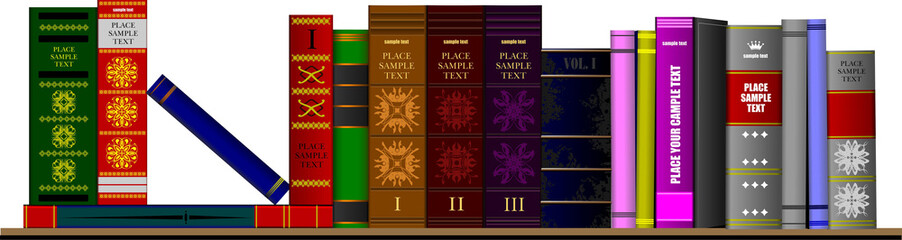 Bookshelf library with books. Vector illustration