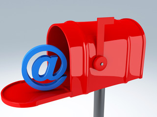 red mail box with at sign. email concept
