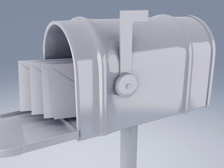 white mail box with heap of letters