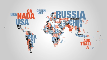 Colorful word cloud of world map in 4k resolution