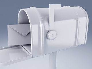 white mail box with letter