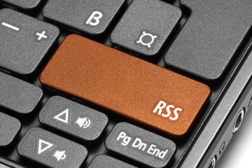 RSS. Orange hot key on computer keyboard